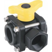 "Banjo Polypropylene 3 Way Ball Valve 1""1/4 Female Thread T Port"