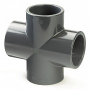 32mm PVCu Plain Cross 90 Degree